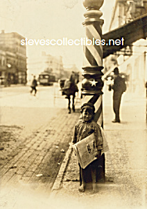 C.1908 Boy In Front Of Barber Pole, Indianapolis Photo