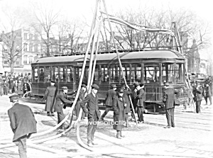 C.1915 Firemen With Streetcar Photo - Matted - 5 X 7
