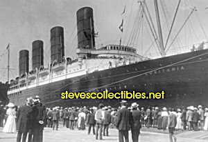 C.1907 Lusitania Arriving Ny Photo - Matted