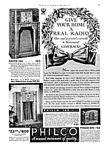 1933 Art Deco Philco Radios Ad