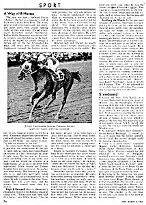 1962 Horse Racing - Willie Shoemaker Magazine Article