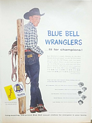 1955 Blue Bell Wranglers Jeans-rodeo Buck Rutherford