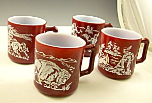 Lot Of 4 Hazel Atlas Cowboy Indians Childs Mugs