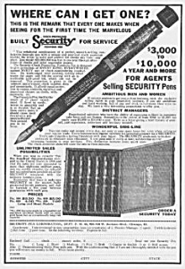 1924 Security Fountain Pen Corp. Ad