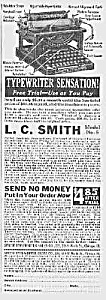 Neat 1922 L C Smith Model No. 5 Typewriter Ad