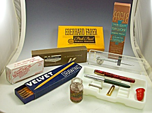 Box Lot Of Vintage Writing Collectibles-fountain Pens+