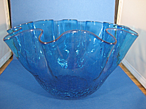 Large Blue Crackle Glass Bowl