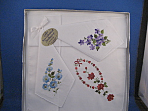 Three Emboidered Handkerchiefs