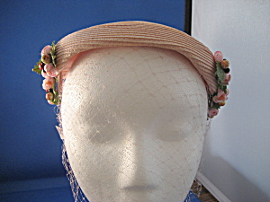 Pink Straw Hat With Flowers And A Net