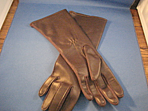 Long Brown Leather Gloves