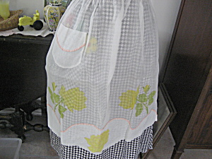 Hand Painted Flowered Apron