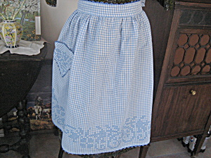 Blue Checkered Embroidered Apron