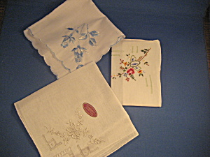 Three Linen Handkerchiefs
