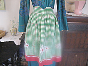 Green And White Checkered Apron
