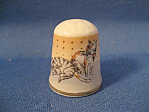 Vintage Bone China Cat Thimble