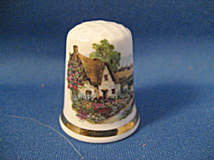 Thimble English Thatched Cottage Bone China