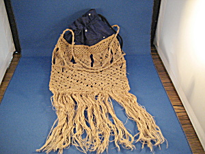 Old Satin And Macrame' String Purse