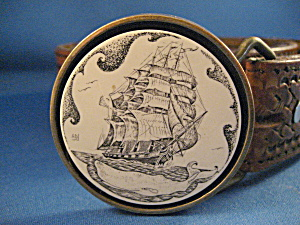 Scrimshaw Belt Buckle And Belt