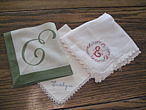 "Three Embroidered ""e"" Handkerchiefs"