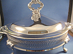 Silver Glass Lined Serving Dish