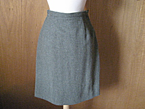 Green Wool Straight Skirt