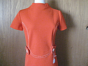 1960-1970 Orange Polyester Belted Dress