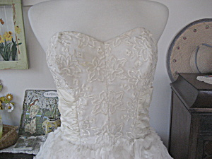 White Lace And Ruffle Prom Or Wedding Dress