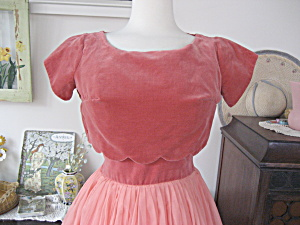 1950s Peach Chiffon Prom Dress
