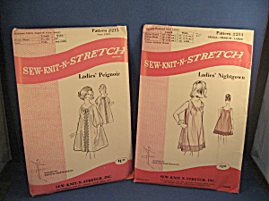 Two Sew-knit-n-stretch Nightgown And Peignoir Patterns