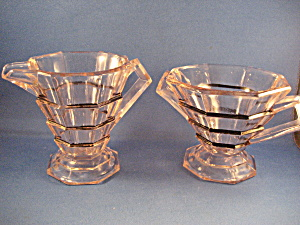 Art Deco Indiana Glass Cream And Sugar