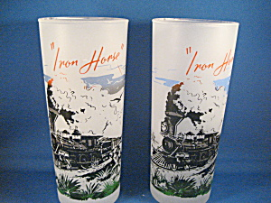 Two Iron Horse Frosted Drinking Glasses