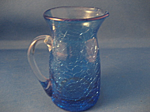 Small Hand Blown Crackle Glass Pitcher