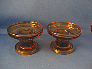 Hand Blown Amber Candle Holders