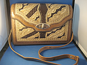 Large Hand Tooled Leather Purse