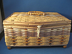 Vintage Tan Sewing Basket