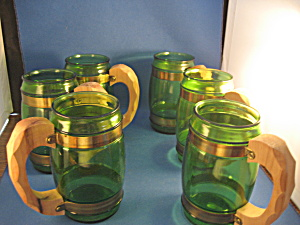 Six Green Glass Barrel Mugs With Wooden Handles