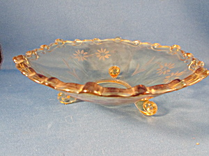 Footed Amber Glass Berry Bowl