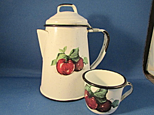 Miniature Enamel Coffee Pot And Matching Cup