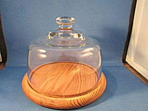 Wooden Base Cheese Or Butter Covered Dish