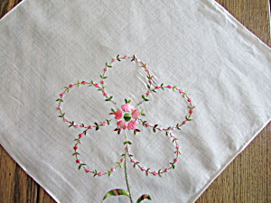 Embroidered Flower Handkerchief