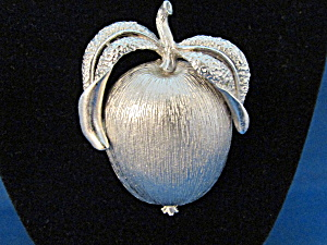 Sarah Coventry Pewter Apple Brooch
