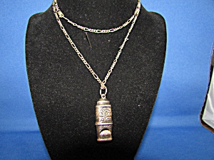 Old Sterling Silver Whistle Necklace