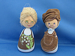 Wooden Hand Painted Couple By Barbro Bjoenberg