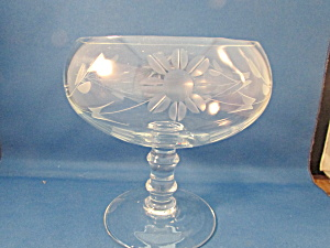 Flower Etched Glass Compote