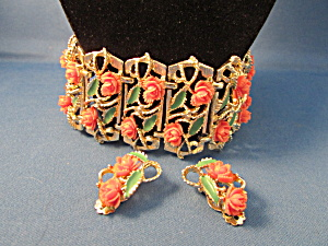 Coral Flowered Bracelet And Matching Earrings