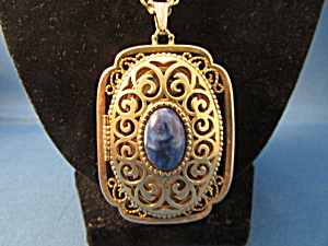 Blue Stone And Gold Filigree Locket