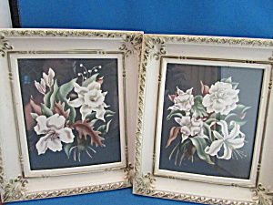 Two Vintage Framed Pictures Of Lilies