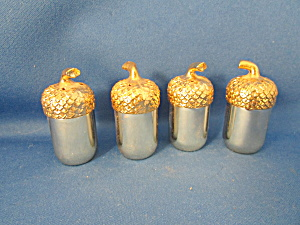Silver Plated Brass Acorn Salt And Pepper Shakers