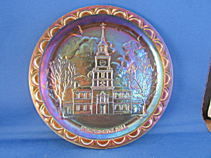 Bi-centennial Carnival Glass Independence Hall Plate