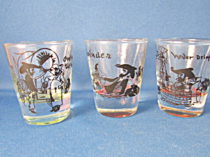 Three Western Shot Glasses With Sayings